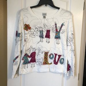 Chico's long sleeve love shirt size 2